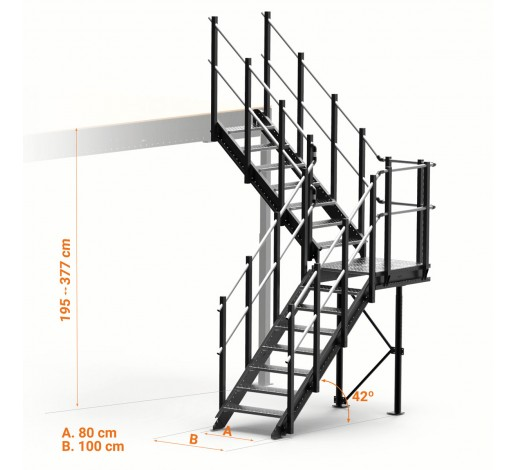 Long L-shaped Adjustable Stairs