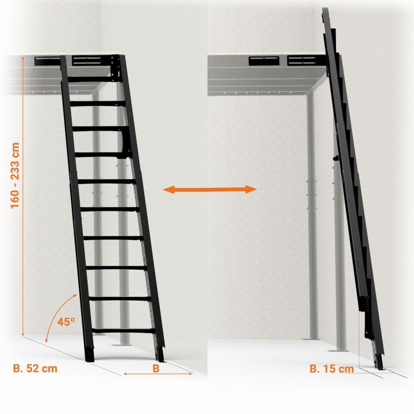 Escalera abatible a pared 45º S