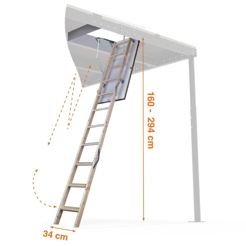 Escalera plegable para techos